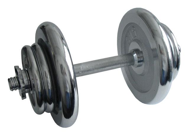 Nakládací činka jednoruční, chromová - 17 kg