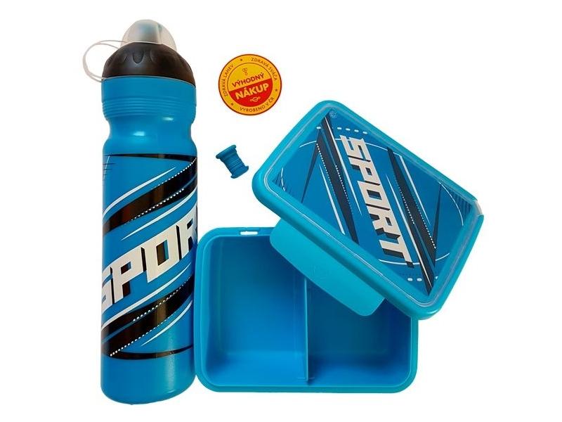 svačinový set RaB lahev + box 1,0l SPORT modrý