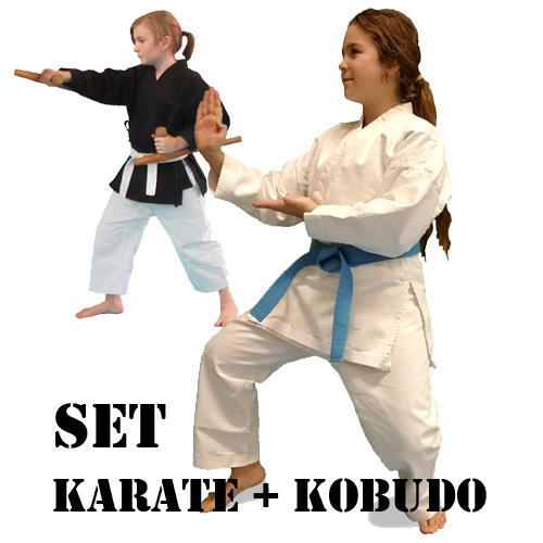 SET - Kimono - Kohai JUNIOR KARTE + KOBUDO výška postavy 120 -140 cm
