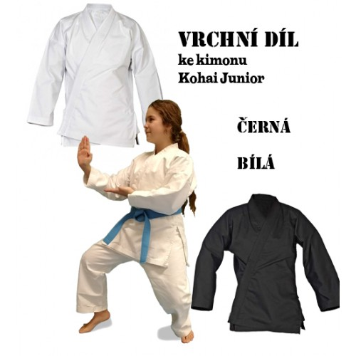 VRCHNÍ DÍL ke kimonu - Kohai JUNIOR KARTE + KOBUDO výška postavy 120 -180 cm